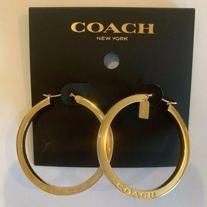 Coach Jewelry - NWT COACH Gold & Indigo Blue Enamel Hoop Earrings